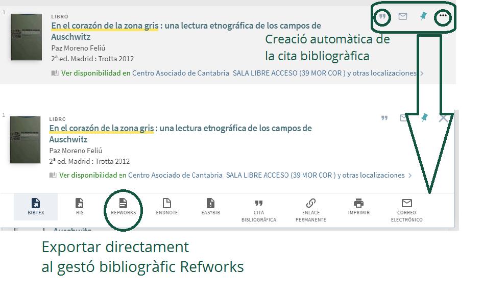 Registre bibliogràfic guardar document enviar per correu